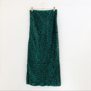 NWT Cami NYC Green Leopard Silk Bias Midi Skirt
